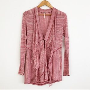 Free People Heathered Fringe Red Cardigan